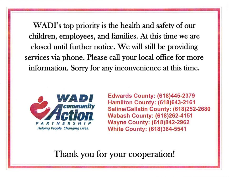 WADI Offices to Remain Closed – Area Food Pantry Information for White, Wayne, Gallatin, Hamilton, Edwards and Wabash Counties