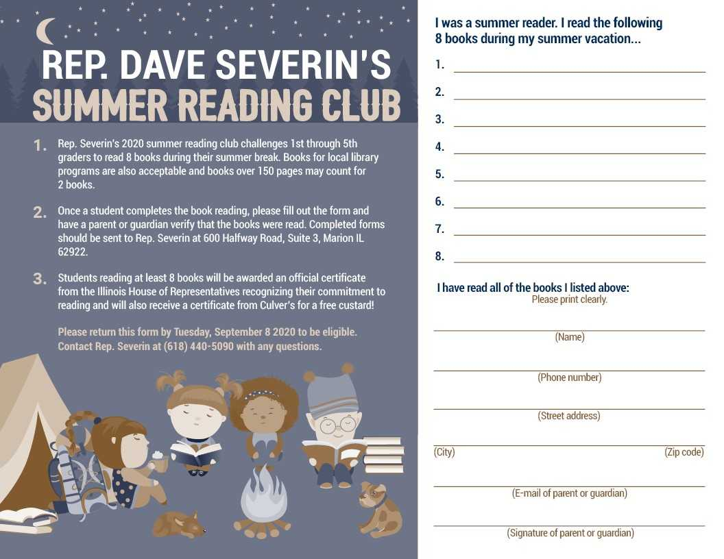 Rep. Severin's Summer Reading Club for 1st through 5th Graders Kicks Off Today