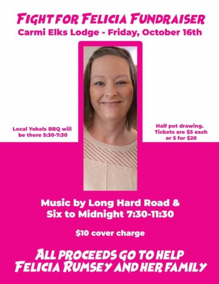 Fight for Felicia Fundraiser at Carmi Elks This Friday, October 16th