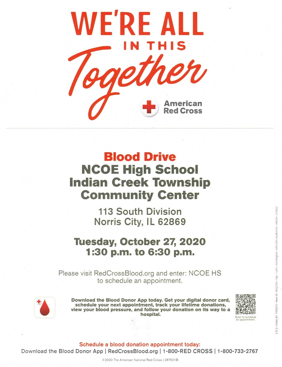 NCOE High School to Host American Red Cross Blood Drive Tuesday, October 27th