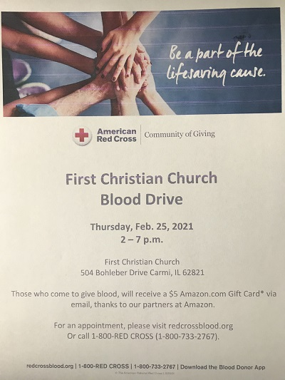 First Christian Church in Carmi to Host American Red Cross Blood Drive Thursday