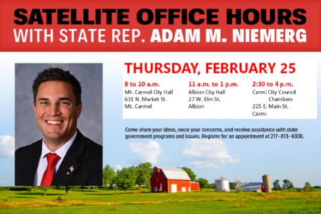Rep. Niemerg Continues Satellite Office Hours This Week and Next for Edwards, Wabash, White Counties