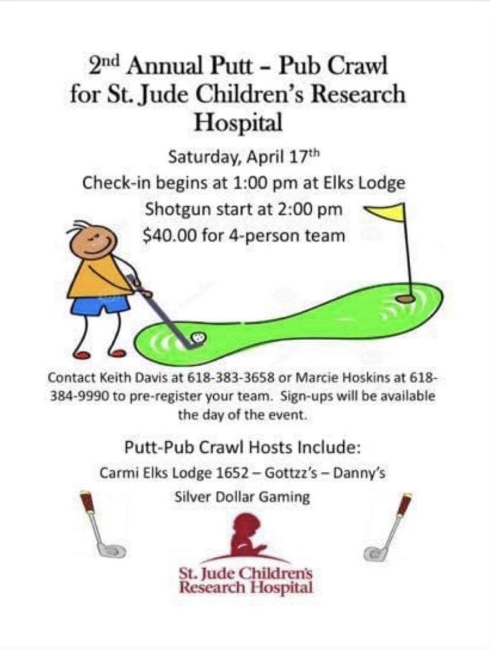 2nd Annual Putt-Pub Crawl for St. Jude Coming Up; Sign Up Now