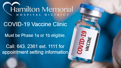 Hamilton Memorial Hospital District Announces Upcoming CoViD Vaccination Opportunity