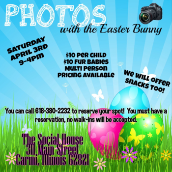 Photos with the Easter Bunny, Saturday, April 3rd in Carmi