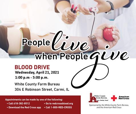 Donate blood in Carmi on April 21