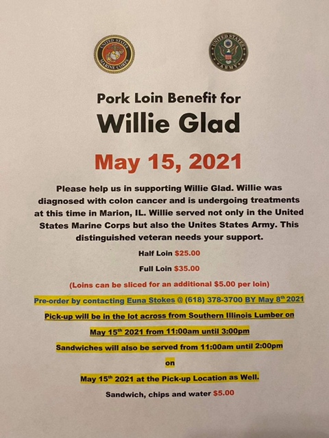 Pork Loin Benefit for Norris City Man this Saturday