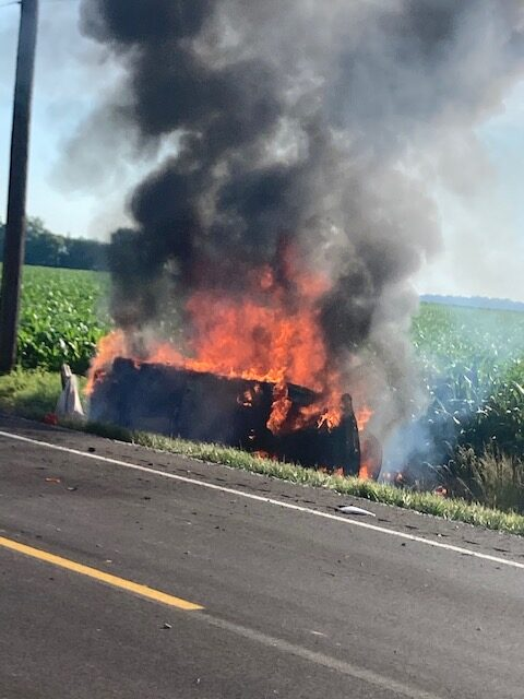 Car Catches Fire following Accident Thursday Morning on Epworth
