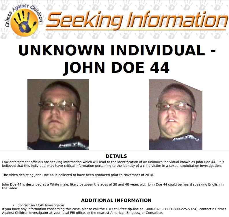 FBI Seeking Individual Who May Have Information Regarding the Identity of a Child Sexual Assault Victim